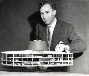 'Quite simply one of the best British architects of the 20th century': Peter Womersley as a student in 1953 with one of his models.