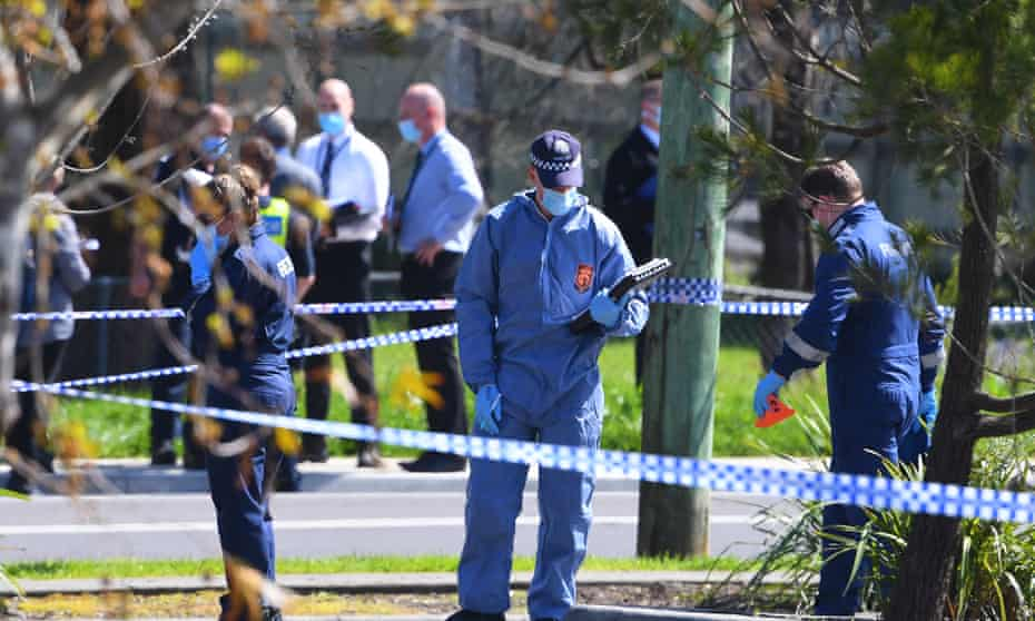 Forensic Police are seen at a crime scene in Lilydale, Melbourne, Tuesday, September 15, 2020