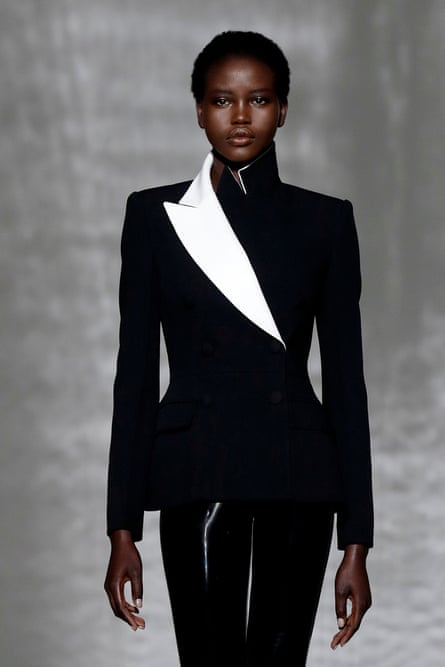 Adut Akech in Givenchy suit