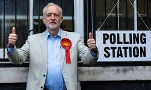 Jeremy Corbyn after casting his vote on Thursday.