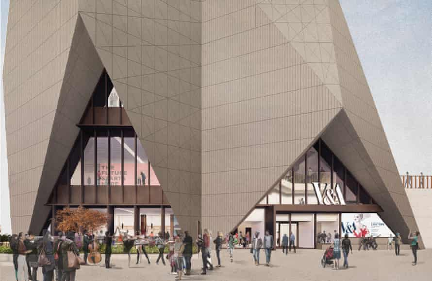 An external render view of the new V&A East museum in Stratford, east London.