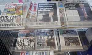 Newspaper front pages referring to the upcoming general election.