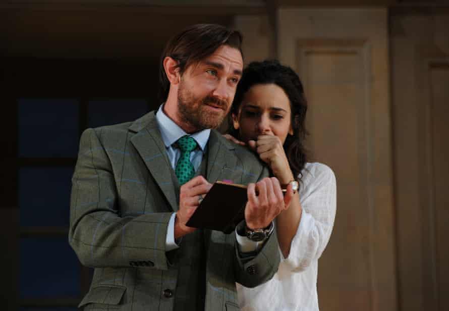 Josh McConville, as Bernard, and Andrea Demetriades, as Hannah, in the Sydney Theatre Company's 2016 production of Arcadia.
