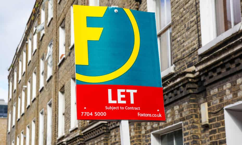Foxtons 'to let' sign outside terraced houses in south London