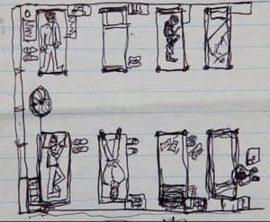 A dorm at Rikers, as drawn by Graham MacIndoe.