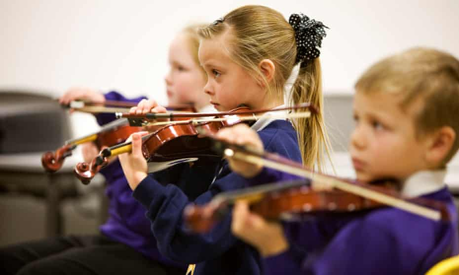 Children at Sistema Scotland, a music education project in Stirling.