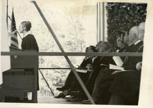 Hillary Clinton as a student giving a speech during her 1969 commencement at Wellesley College.