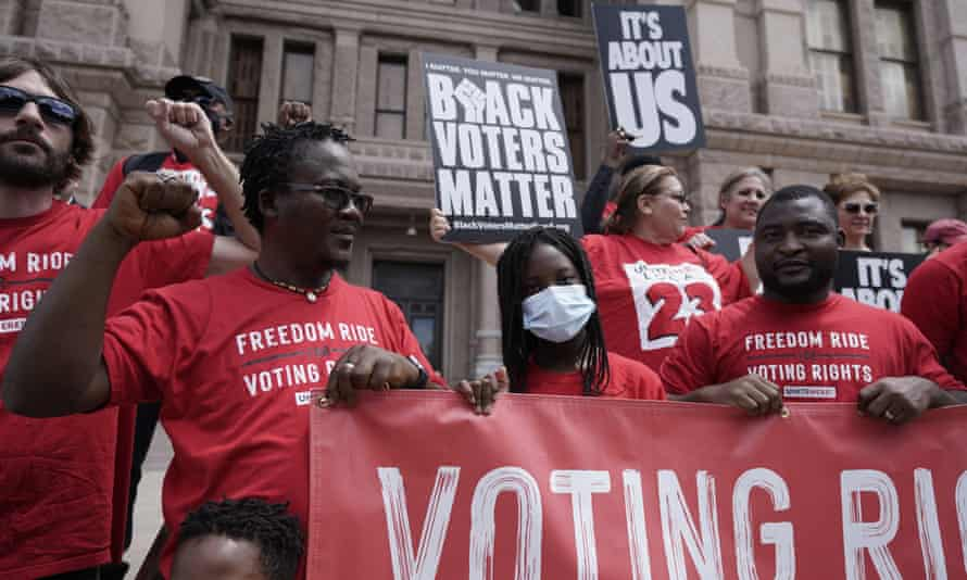 A rally to support voting rights at the Texas capitol last week.