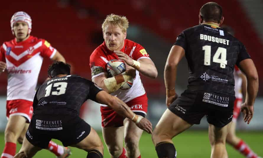 James Graham (centre) said his goal was to return to St Helens and defend the Super League title they won last year.