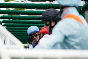 Jockey Jim Crowley looks across while waiting in the stalls at Chester.