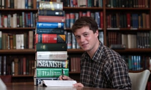 Alex Rawlings, pictured after winning the title of most multilingual student,