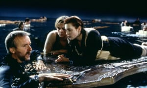 All aboard? Cameron with Leonardo DiCaprio and Kate Winslet on the set of Titanic, 1997.