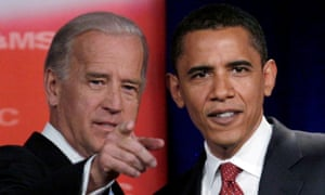 Joe Biden and Barack Obama before a presidential primary debate in 2007.