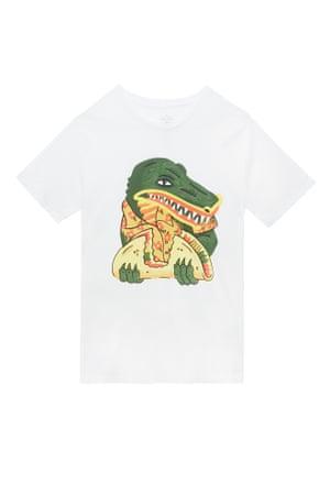 White t-shirt with crocodile eating a taco print