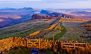 Hadrian's Wall path looking east from Winshields towards Crag Lough Housesteads and Sewingshields