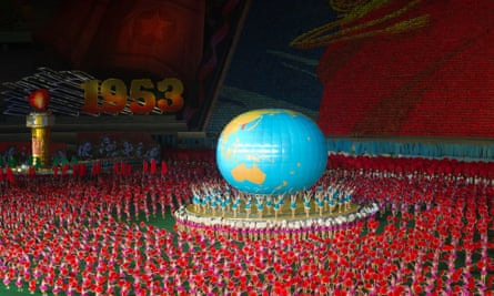 Dancers perform at the 1st May stadium as part of the Arirang Mass Games.