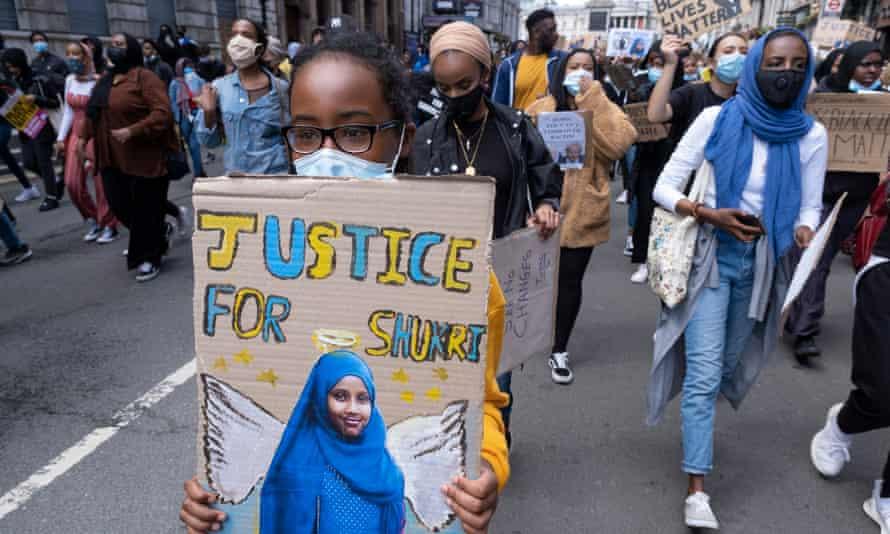 A Black Lives Matter protest in honour of Shukri Abdi in London in June.
