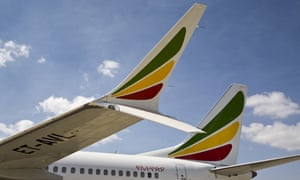 The winglet of an Ethiopian Airlines Boeing 737 Max 8 is seen as it sits grounded at Bole International Airport in Addis Ababa, Ethiopia.
