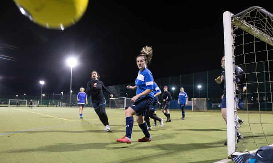 Longford Park Ladies play six-a-side football against Salford Royalles on an astroturf pitch