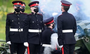 Gun salute to mark the death of Prince Philip, in CardiffA gun salute is held to mark the death of Prince Philip, husband of Queen Elizabeth, at Cardiff Castle, in Cardiff, Wales, Britain April 10, 2021. REUTERS/Rebecca Naden
