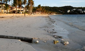 A sewage pipe on the shore of Bulabog beach on Boracay