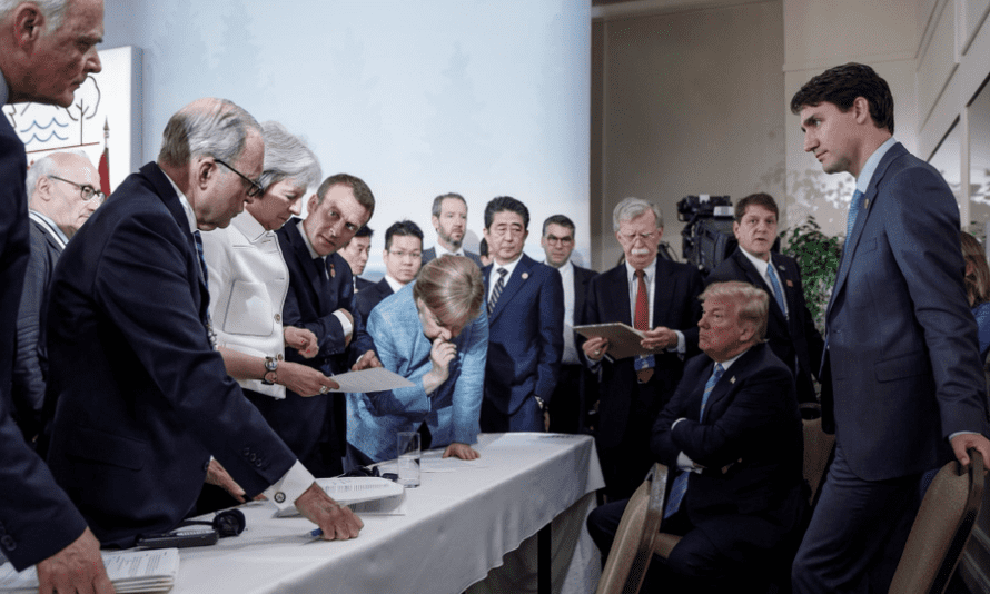 Justin Trudeau, Donald Trump, Angela Merkel and other world leaders at the G7 summit.