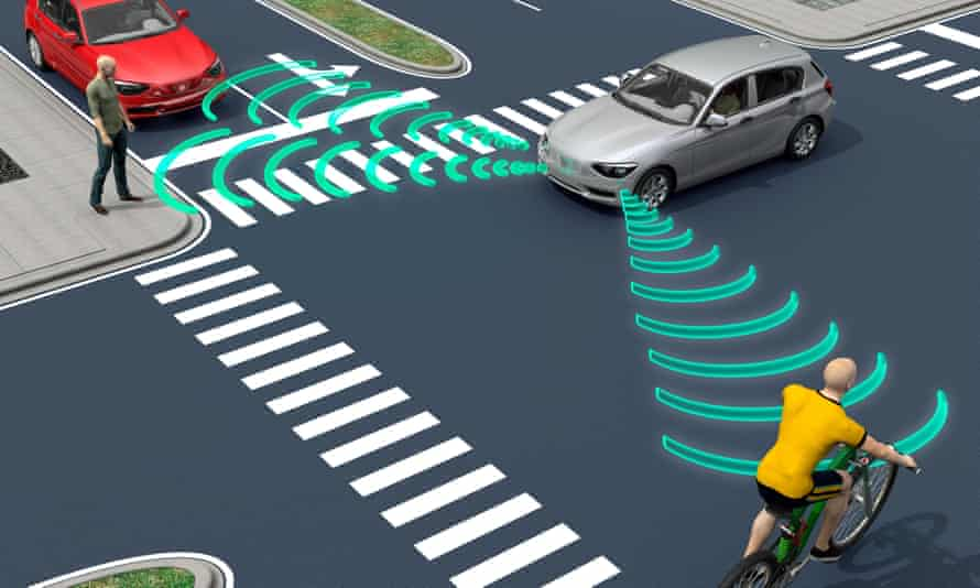 An illustration of self-driving cars