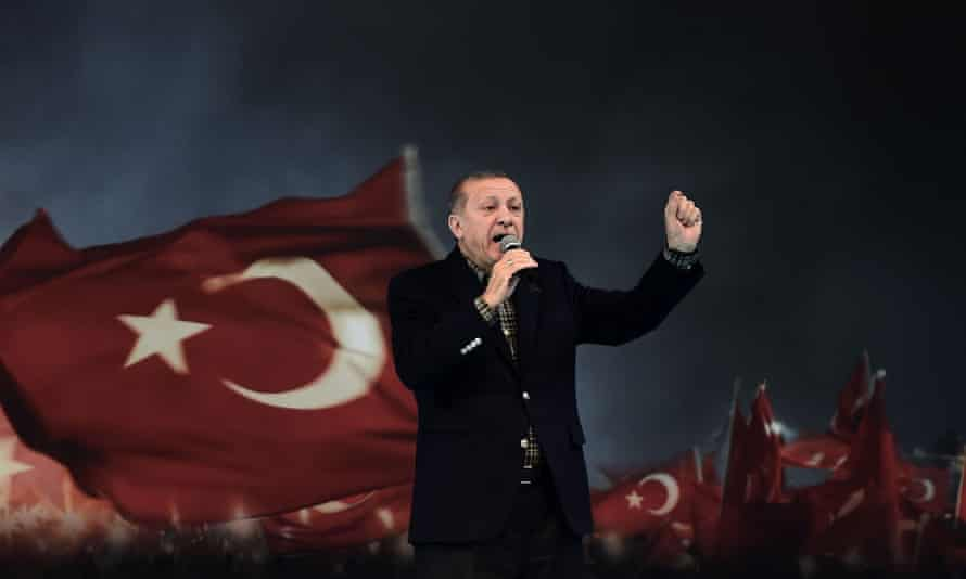 Recep Tayyip Erdoğan delivers a speech in Istanbul during a pro-government women's rally.