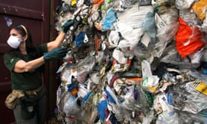 Household waste imported from Britain that was improperly labeled as recyclable plastic, in Santos, Brazil.