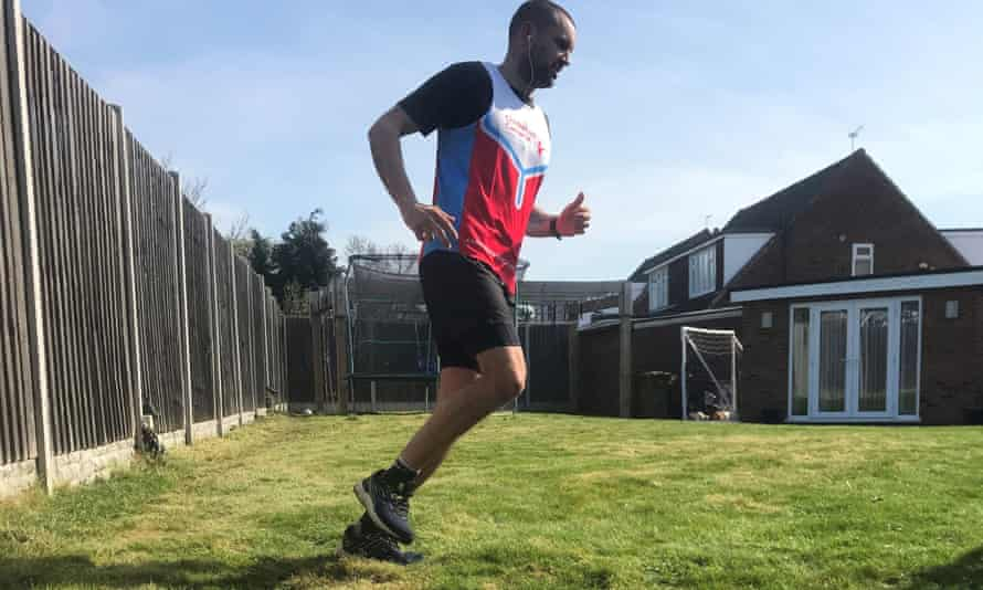James Page runs a marathon in his garden