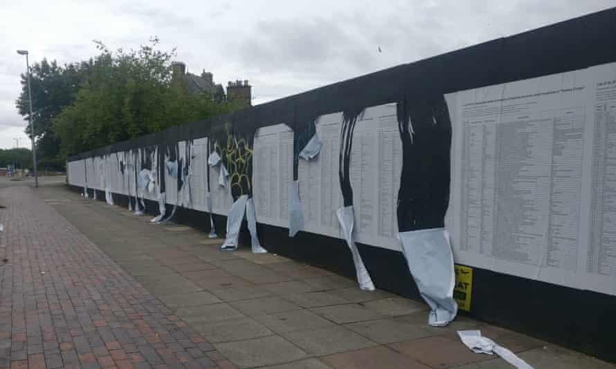 Banu Cennetoğlu's list was installed on a 280m hoarding on Great George Street, Liverpool on July 12, 2018. It has been repeatedly damaged, removed and targeted.