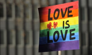 'Love is Love' banner at a marriage equality rally