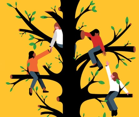 Illustration of friends in a  tree