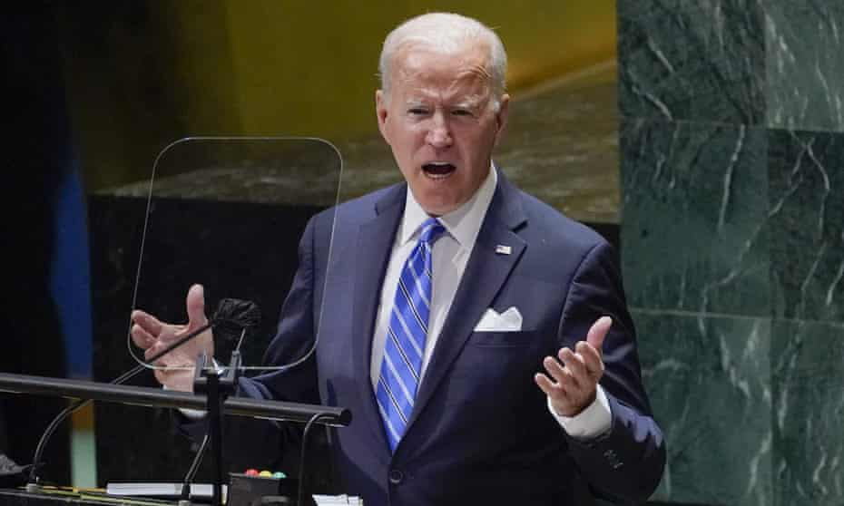 President Joe Biden speaking to the 76th Session of the United Nations General Assembly on TuesdayPresident Joe Biden speaking to the 76th Session of the United Nations General Assembly on Tuesday