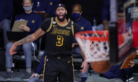 Anthony Davis watches as his three-pointer hits home during the LA Lakers' NBA playoff victory over the Denver Nuggets