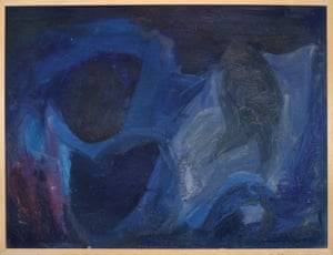 Syd Barrett's untitled abstract painting in blue, later given to his girlfriend Libby Gausden in 1965
