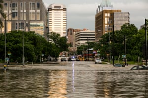 The streets of Austin are flooded after days of heavy rain.