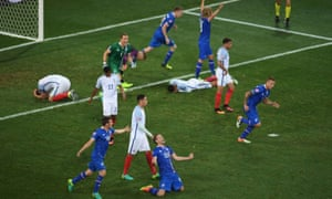 Iceland players celebrate while England players show dejection after the Euro 2016 last-16 match