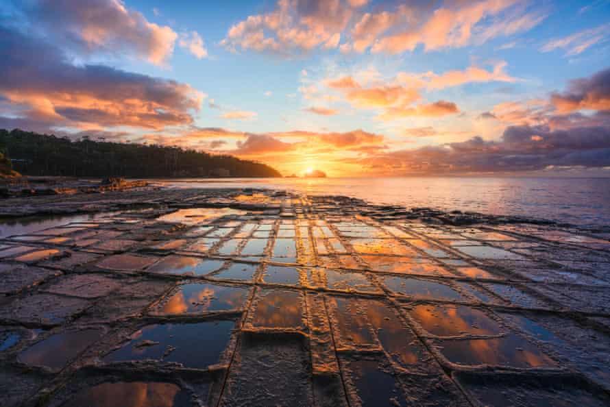 The Tessellated Pavement at Lufra, Eaglehawk Neck on the Tasman Peninsula of Tasmania.