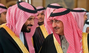 Crown Prince Mohammed bin Salman, left, with Mohammed bin Nayef, former heir to the throne.