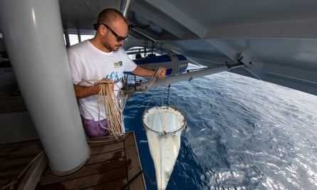 Marine researcher Andrew Paris from the University of the South Pacific tests the Pacific Ocean for plastic pollution