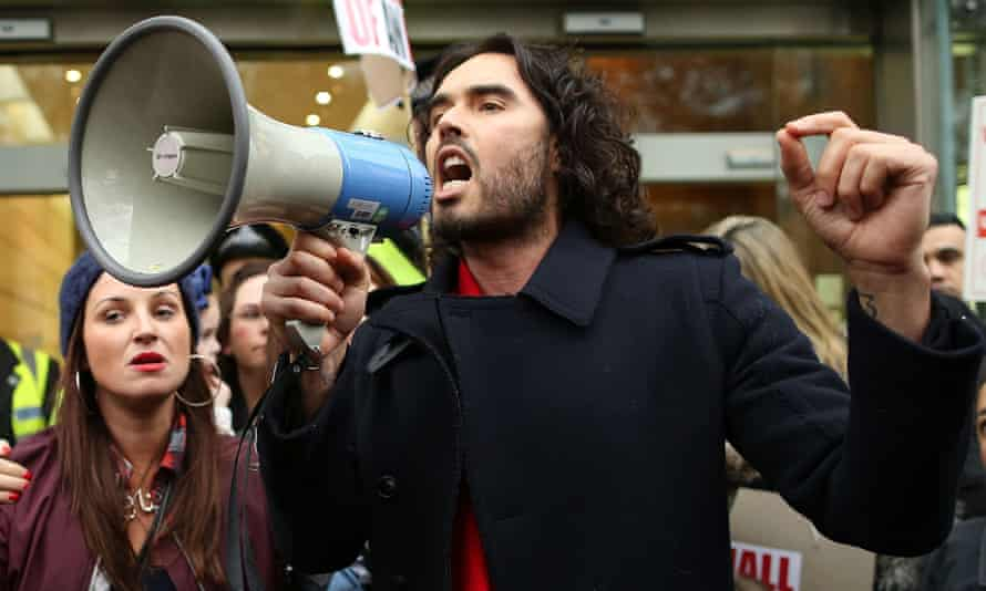 Russell Brand in protest mode in 2014.