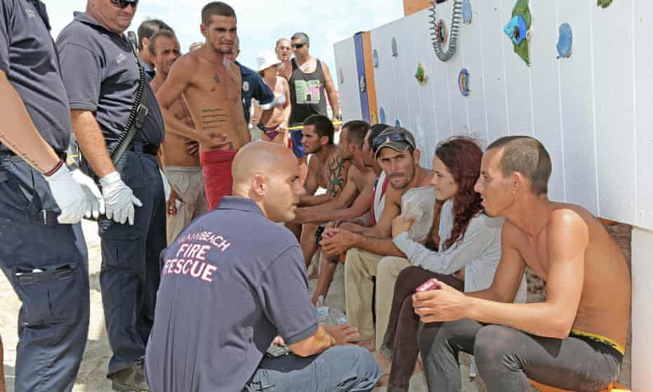 A group of Cuban migrants traveling on a boat with a makeshift sail made landfall on Miami Beach on last month.