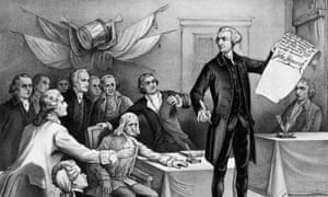 John Hancock puts his signature to the Declaration of Independence, watched by fellow patriots Robert Morris, Samuel Adams, Benjamin Rush, Richard Henry Lee, Charles Carroll, John Witherspoon, John Adams and Edward Rutledge.