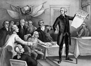 John Hancock, president of the Continental Congress, signs the Declaration of Independence, watched by fellow patriots.