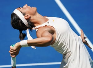 TENNIS-US-OPENCaroline Garcia serves on her way to beating Monica Puig.