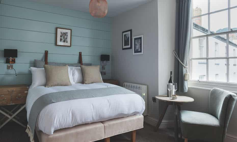 One of the bedrooms at Havener's Bar & Grill, Fowey, Cornwall, UK.