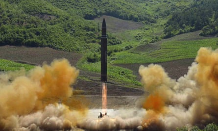 A image the North Korean government says is of intercontinental ballistic missile it launched on 4 July.