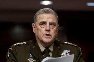 Tướng Mark Milley phát biểu tại buổi điều trần về ngân sách của Dịch vụ Vũ trang Thượng viện trên Đồi Capitol.