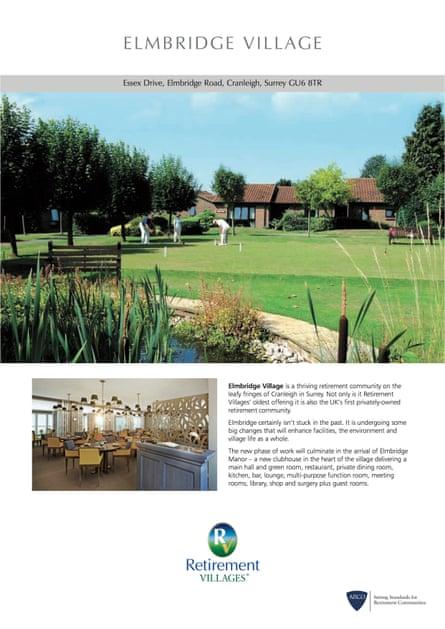 Retirement Villages' Elmbridge brochure.